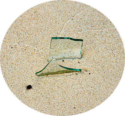 Glass shard in the sand